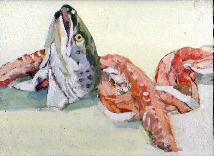 Salmon Head, 10 x 10 inches, Oil on board, 2011